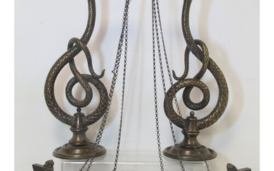 Pair of late 19th Century / early 20th Century bronze wall l...