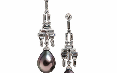 Platinum, Tahitian Pearl, and Diamond Earrings