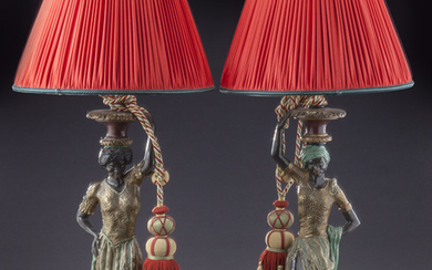 Pr. Kupur patinated & polychrome carved lamps,