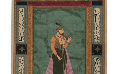 Qajar (19th century) Portrait of a Mughal Ruler within a...