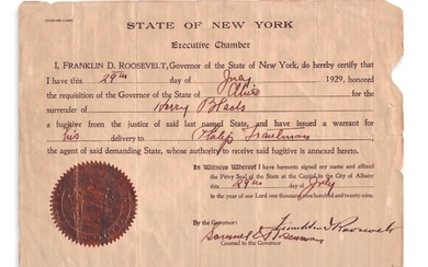 ROOSEVELT, FRANKLIN D. Partly printed Document Signed, as Governor