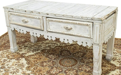 RUSTIC DISTRESSED PAINTED PLANK TOP CONSOLE TABLE