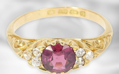 Ring: very decorative antique ruby ring with old-cut diamonds, total ca. 1ct, 18K gold, Hallmarks Birmingham 1903