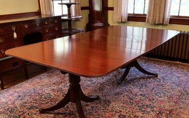 SHERATON DOUBLE PEDESTAL DINING TABLE 19th/20th C.