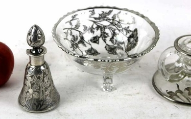STERLING SILVER OVERLAY ANTIQUE GLASS GROUPING