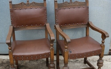 Set of 6 Very Early 'Old Charm' Acorn Chairs. Includes 2 x C...