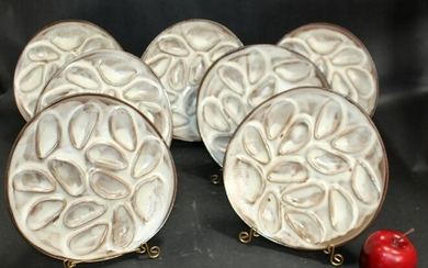 Set of 7 French ceramic oyster plates