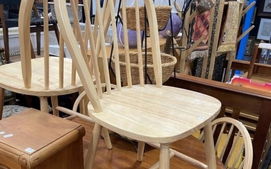 Set of Six Natural Spindle Back Dining Chairs