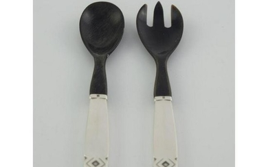 Small Sterling Silver Handled Salad Serving Set with