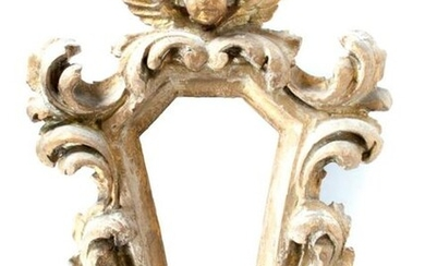 Small carved and gilded wooden mirror with hexagonal...
