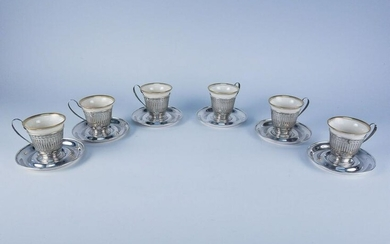 Sterling Silver Lenox Porcelain Demitasse Coffee Set 6