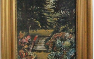 "T HAXON Edwardian oil on canvas, ""Country house garden scene..."