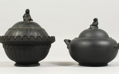 TWO WEDGWOOD BLACK BASALT CIRCULAR SUGAR BOWLS AND