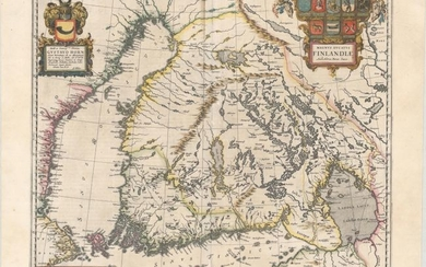 "Price lowered by $100! The First Separately Published Map of Finland, ""Magnus Ducatus Finlandiae Auct. Andrea Buraeo Sueco"", Blaeu, Johannes"