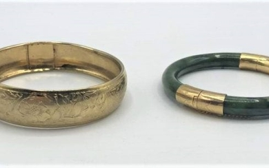 Two [2] Bangle Bracelets Green Jade, Incised Gold Plate
