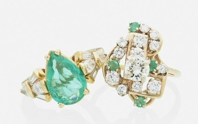 Two diamond and emerald rings