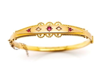 Victorian 9ct yellow gold bangle set with seed pearls and ga...