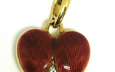 Victorian Diamond Red Enamel Yellow Gold HEART LOVE