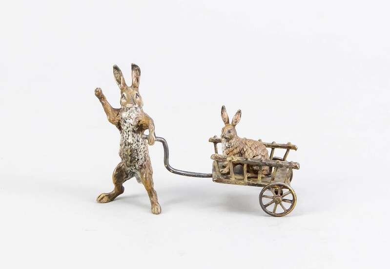 Viennese bronze 1st half of the 20th century, Rabbit pulling a cart, polychrome cold painted bronze, above, on the underside gest. ''Z / H'', 8 x 3,5 x 6 cm