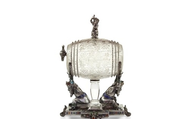 Viennese rock crystal and enamelled silver barrel-form scent...