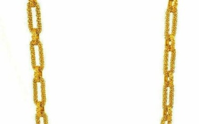 Vintage French 18k Yellow Gold Braided Oval Link Chain