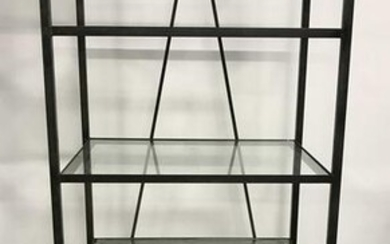 Vintage Glass Shelved Metal Rack