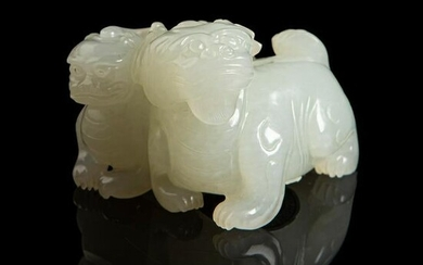 WHITE JADE CARVING OF TWO LUDUANS QING DYNASTY, 18TH