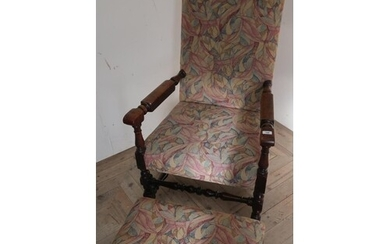 Walnut framed broad seated open armchair with modern upholst...