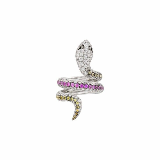 White Gold, Diamond, Brown Diamond and Yellow and Pink Sapphire Snake Ring