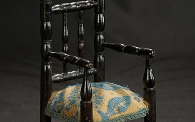 Wooden Chair with Tapestry Seat