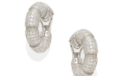 a pair of 18k white gold and diamond earrings