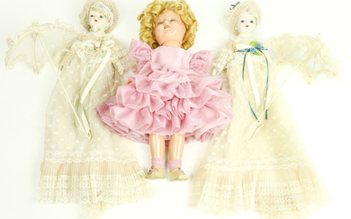 (lot of 3) Victorian style bisque dolls and a Shirley Temple doll