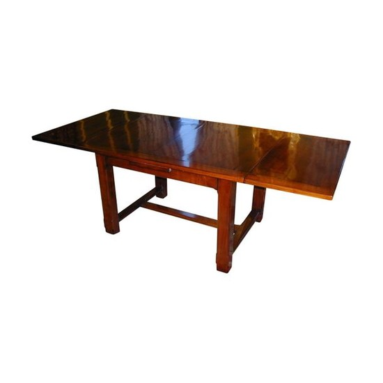 1 Rustic cherry wood dining table with 2...