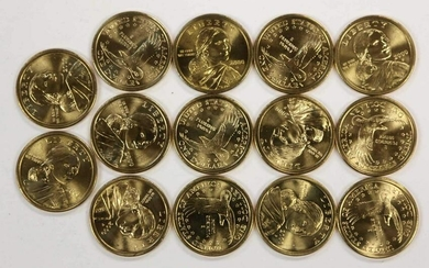 14 UNITED STATES MINT GOLD SACAGAWEA DOLLARS