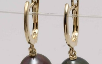 14 kt. Yellow Gold- 10x11mm Peacock Tahitian Pearl