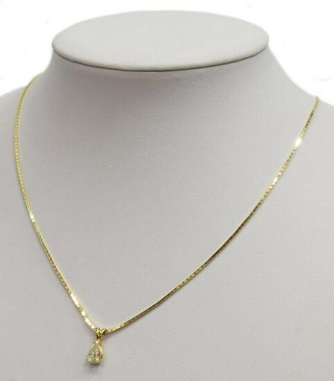 14KT GOLD PEAR-SHAPED DIAMOND PENDANT NECKLACE
