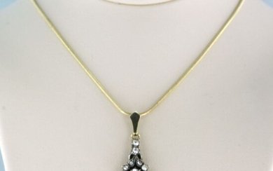 14k goud en Z2 zilver Gold, Silver - Necklace with pendant - 0.30 ct Diamond