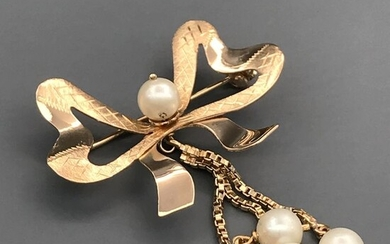 18 kt. Akoya pearls, Yellow gold, 5.8 mm - Brooch