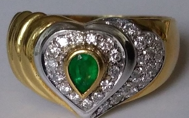 18 kt. Gold - Ring - 0.18 ct Emerald - Diamonds