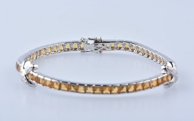18 kt. White gold - Bracelet - 3.99 ct Citrine - Diamonds