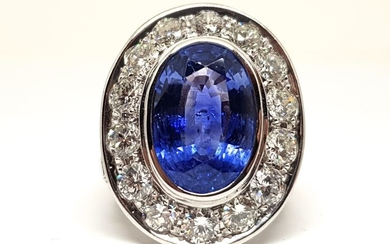 18 kt. White gold - Ring - 20.00 ct Sapphire - Diamond