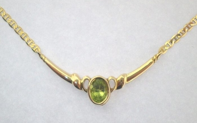 18 kt. Yellow gold - Necklace - 1.00 ct Peridot