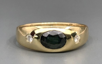 18 kt. Yellow gold - Ring - 1.50 ct Sapphire - Diamonds