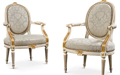 A PAIR OF GEORGE III PARCEL-GILT PAINTED OPEN ARMCHAIRS, LATE 18TH CENTURY
