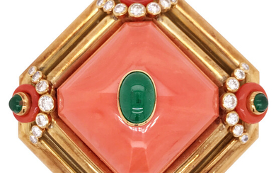 18KT CORAL DIAMOND AND EMERALD SET IN GOLD BROOCH