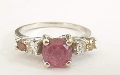 18ct White Gold, Pink Sapphire & Diamond Ring; 1.81ct Round ...