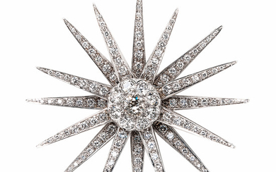 18kt White Gold and Diamond Starburst Brooch