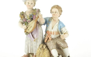 19th century Meissen figure group of a boy and girl
