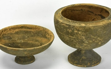 2 Chinese Archaic Stoneware Pottery Footed Vessels