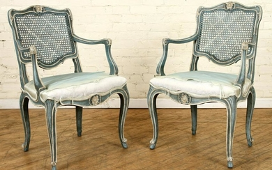 PAIR PAINTED LOUIS XV STYLE OPEN ARM CHAIRS
